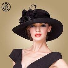 FS 2020 Ladies British Wide Brim Black White Fedora Hats Women Elegant Vintage W