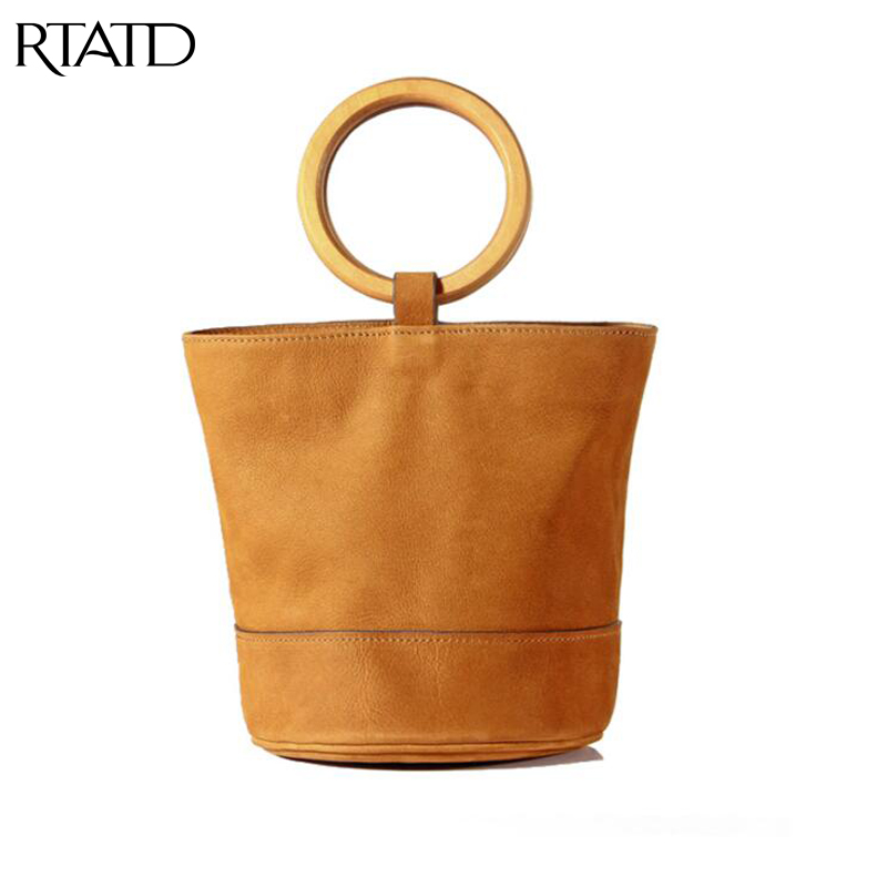 RTATD New Classic Small Bucket Bag Tote with Wood Handel Women Genuine Leather sting open design handbags vintage lady bolsaB052RTATD New Classic Small Bucket Bag Tote with Wood Handel Women Genuine Leather sting open design handbags vintage lady bolsaB052