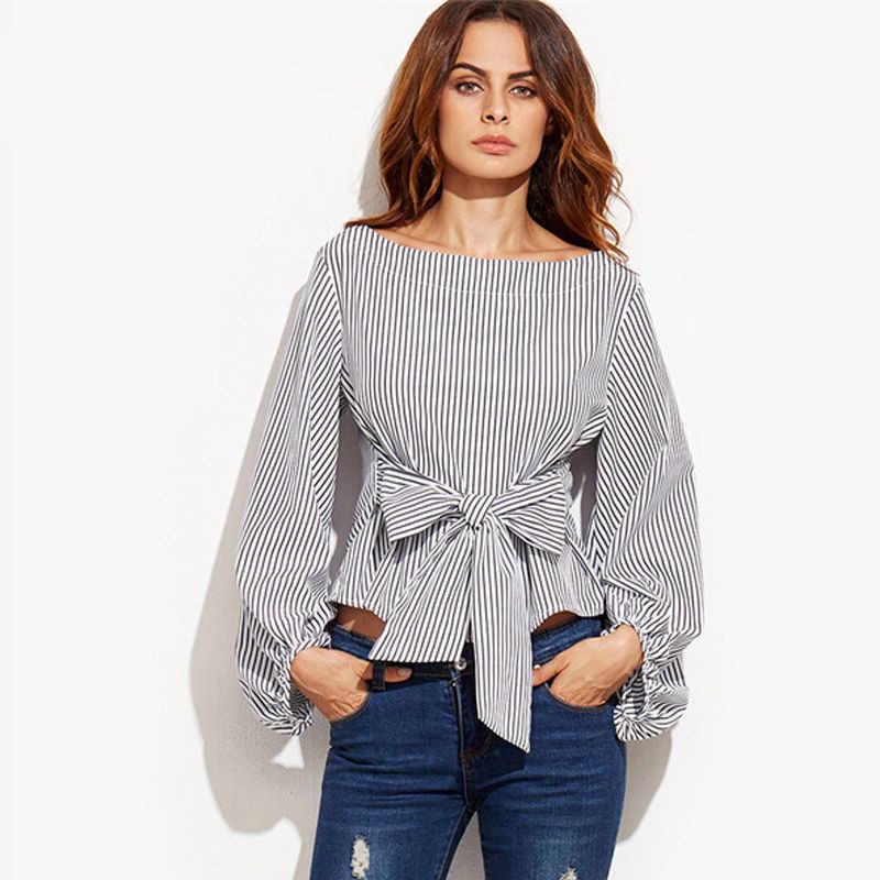 新しいファッションレディースオフショルダーブラウス長袖ストライプシャツで弓ネクタイ女性ファッションシャツ