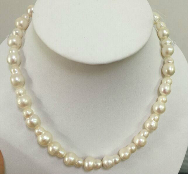 classic18inch natural south sea14-15mm huge twins white pearl necklace925silver