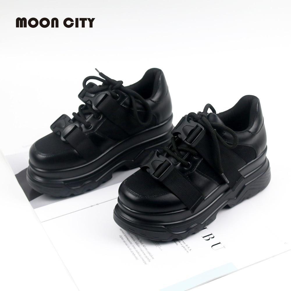 Women's Platform Chunky Sneakers 2019 fashion Mesh Buckle female Thick Bottom shoes woman Women's Vulcanize Shoes