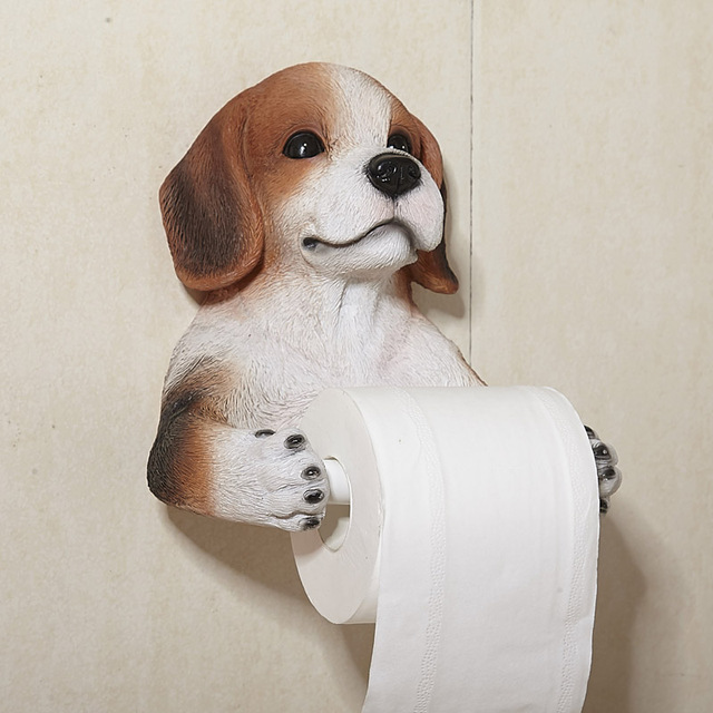 Bathroom Accessory Set Creative Resin Crafts Simulation Dog Toilet Roll  Holder Paper Towels Hanging Rack Perforated