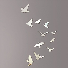 Acrylic Birds Mirror Effect Mural Wall Sticker Removable Modern Room Decoration