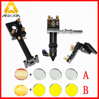 Kit: CO2 Laser Head Set Mounting Holder +1pc Focusing Lens + 3pcs Si / Mo Reflective Mirrors For Laser Machine Mechanical Parts