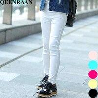 Узкие брюки высокого качества для девочек, весенне-осенние леггинсы для девочек, детские джинсы с эластичной резинкой на талии, однотонные ...