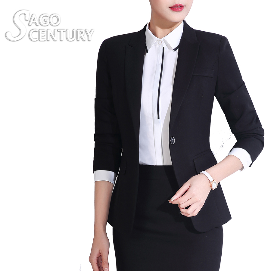 2017 New Mujer Office Suit Lady Black Office Blazers For font b Women b font Outwear
