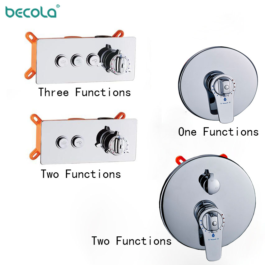 Concealed Mounted MixerBrass Wall Box Mixing Valve Switch Valve Constant Temperature Shower Faucets Thermostatic Chrome 3