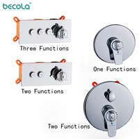 BECOLA Brass Wall Mount With Box One To Three Function Valve Switch Valve Constant Temperature Shower Faucets Thermostatic