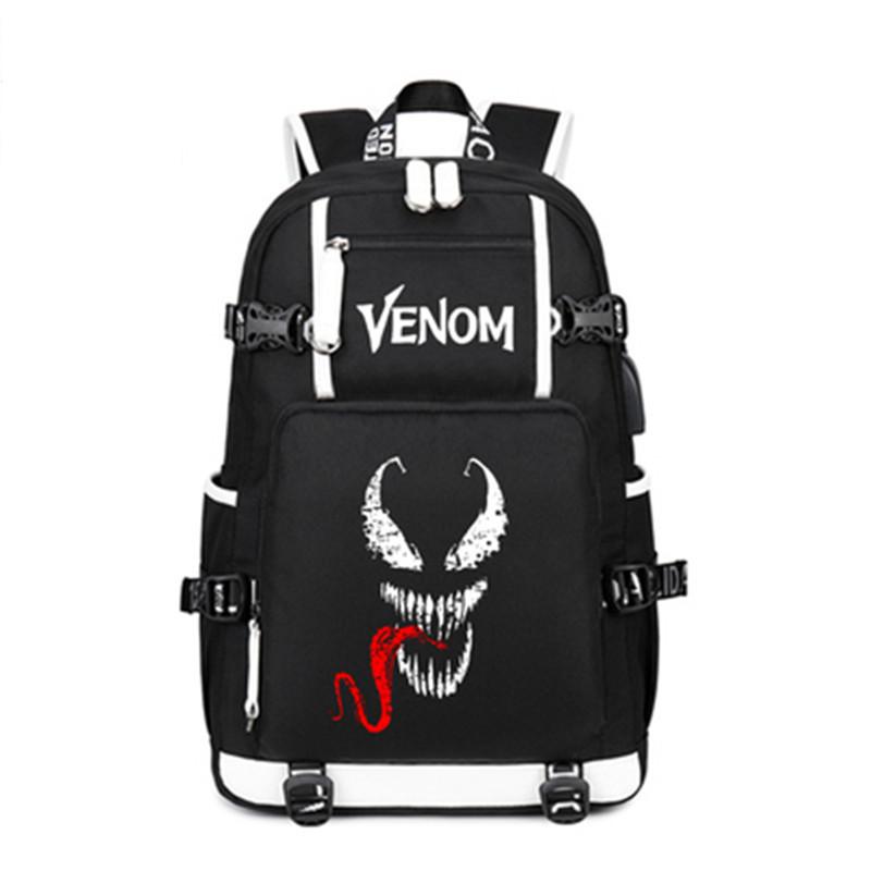 Film Venom Luminous Backpack Bags Students Book Laptop Shoulder School Travel Bags Teenagers Rucksack Gift