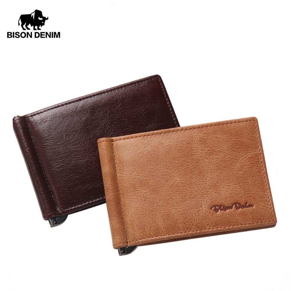 البيسون الدينيم جلد طبيعي مصغرة محفظة الرجال سحاب عملة جيب الدولار المال كليب البني الأصفر خمر محافظ W9330