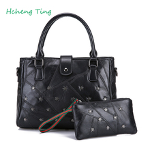 Women Handbag Genuine Leather Shoulder Bag Sheepskin Ladies Black Casual Shopping Bag Large Capacity Tote Bolsos