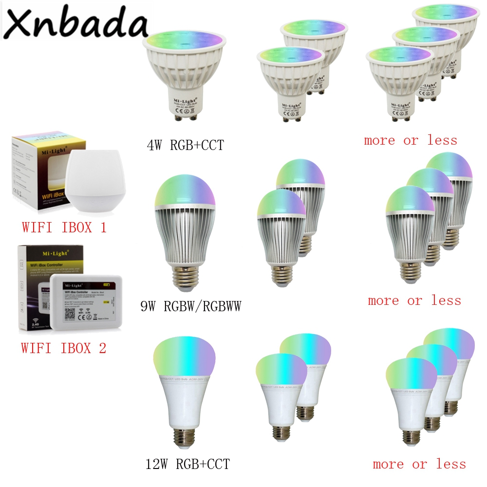 Image 5 - Milight 2.4G Led Bulb,MR16 GU10 E14 E27 Led Lamp Smart Wireless 4W 5W 6W 9W 12W CCT/RGBW/RGBWW/RGB+CCT Led Light-in LED Bulbs & Tubes from Lights & Lighting
