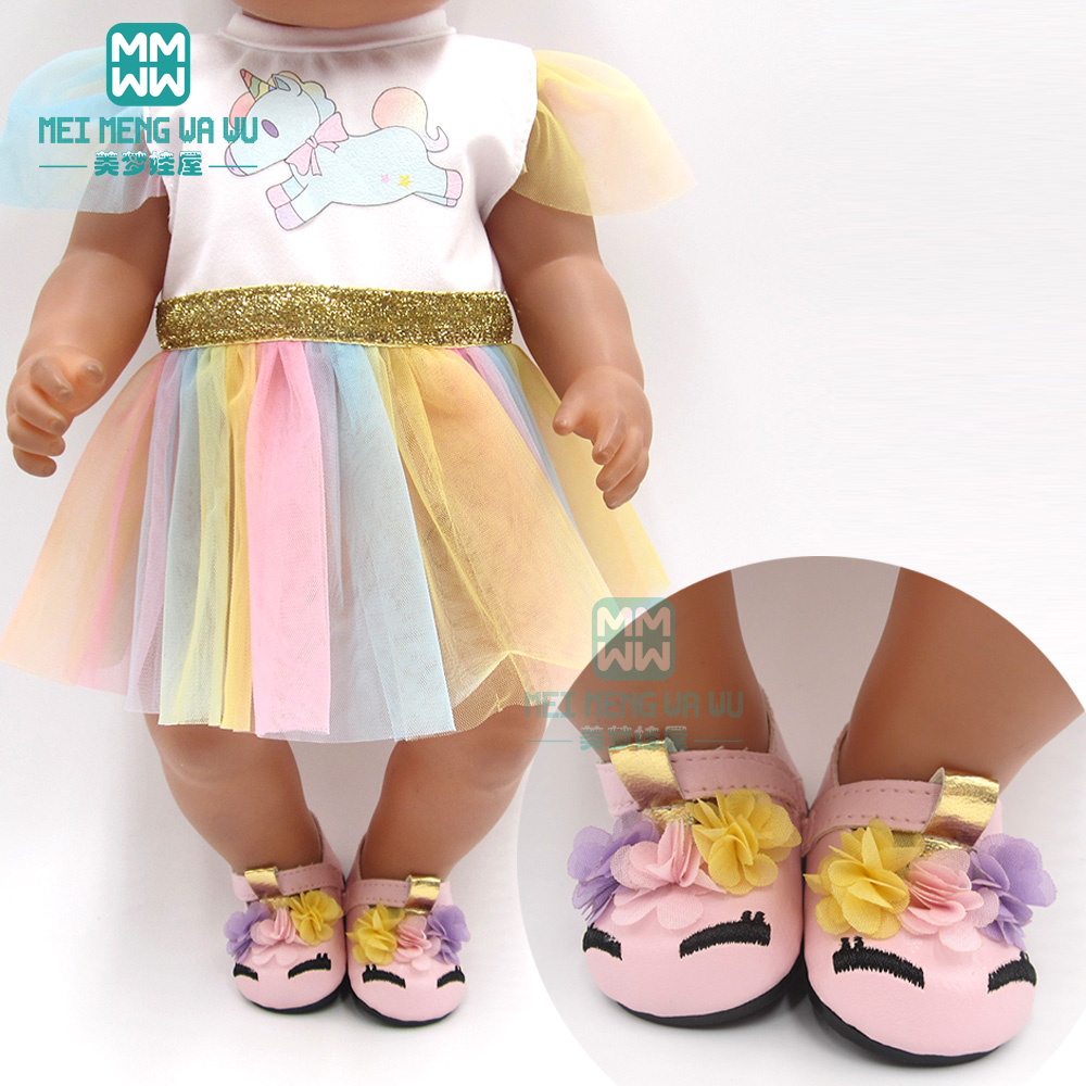 Clocthes For Doll Fit 43 Cm Toy New Born Doll Baby Fashion Unicorn Princess Dress