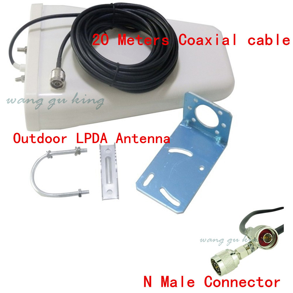 11dbi 800-2500MHz Outdoor LTE Directional LPDA Antenna With N Female+ 20m Cable For 3G 4G DCS PCS CDMA Mobile Signal Booster