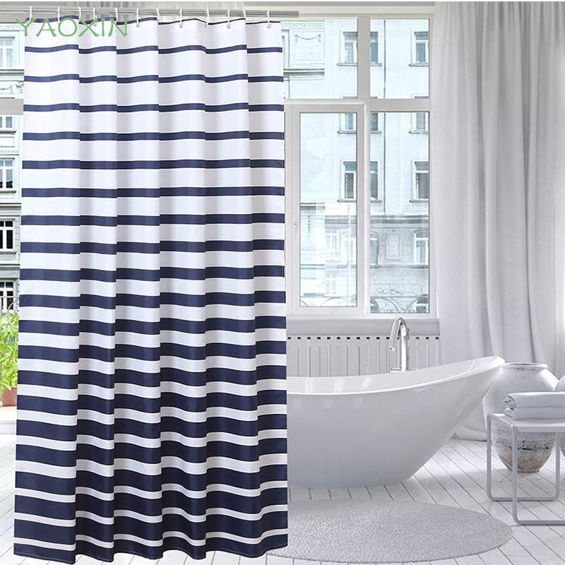 Blue Stripe Polyester Waterproof Thicker Keep Warm Shower Curtain Summer Autumn Curtains In The Bathroom Cortina