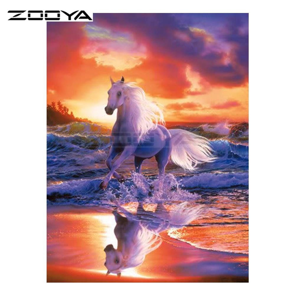ZOOYA Diamond Embroidery DIY Diamond Painting Sunset Beach Running Horse Diamond Painting Cross Stitch Rhinestone Mosaic BK210