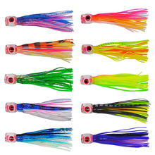 10 pcs Random mixed color Small size soft head octopus skirt  bait  sea trolling fishing lure salt water lures  4.5 inch 13g