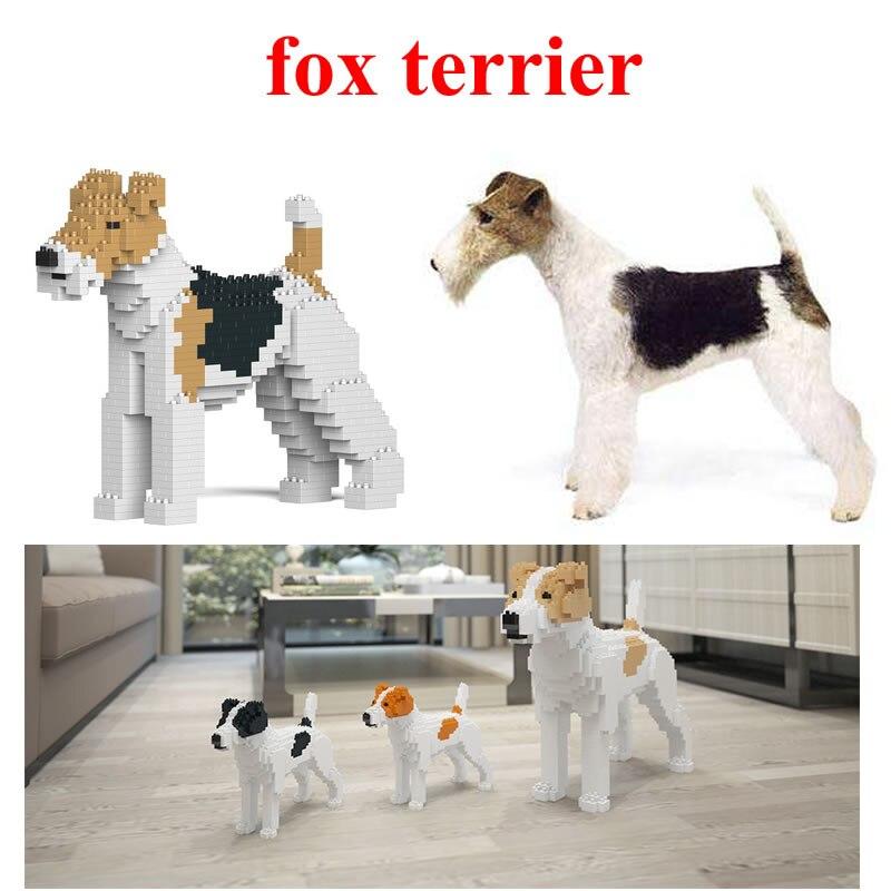 Jekca Stacking Blocks Fox Terrier Assembled Toy Diy Model Dog Child