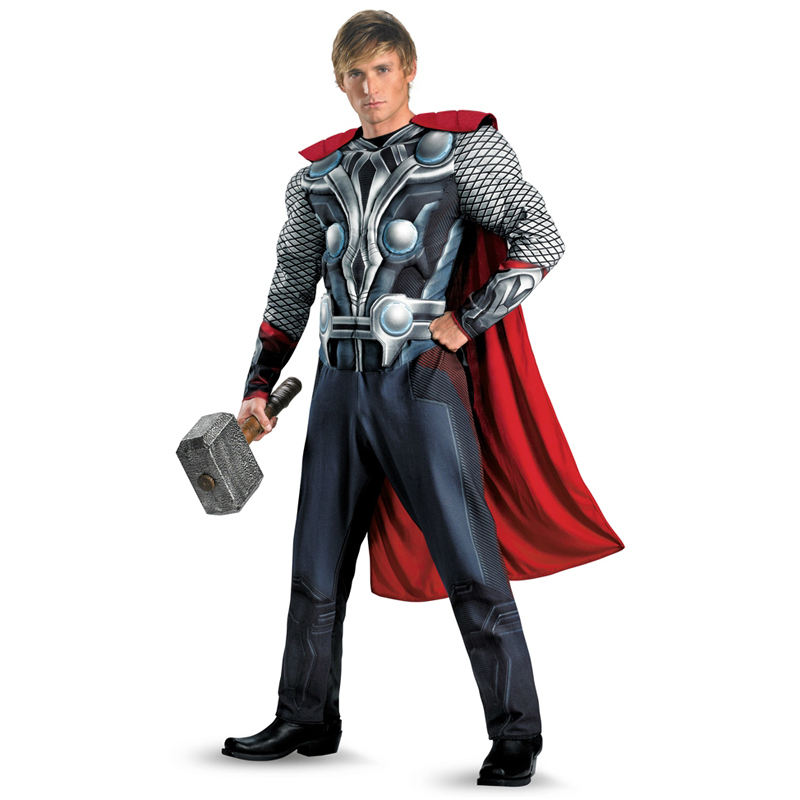 On Sale Genuine The Avengers Thor Adult Muscle Halloween Cosplay Costume For Men Marvel Superheroes Fancy Dress Clothing(China)