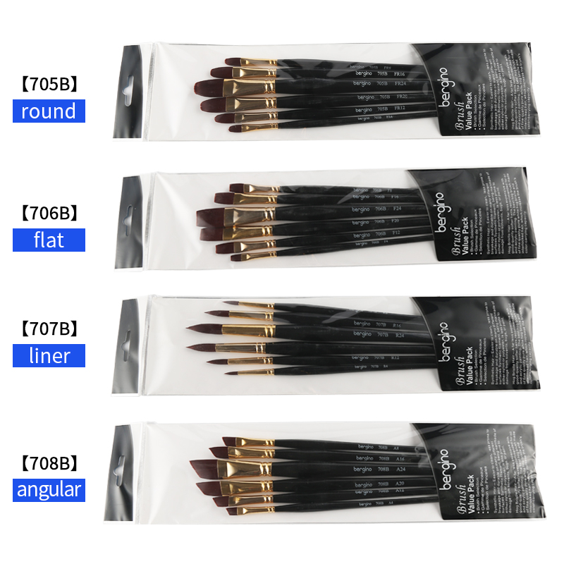 BGLN 6Pcs Super Quality Nylon Hair Painting Brushes Set long Handle Oil/Acrylic/Watercolor/Gouache Paint Brush For Artist