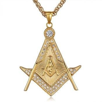 Colgantes de Masonería masónica de acero inoxidable 316L de gran calidad, collares para hombres, rapero de Hip Hop, joyería de Color dorado