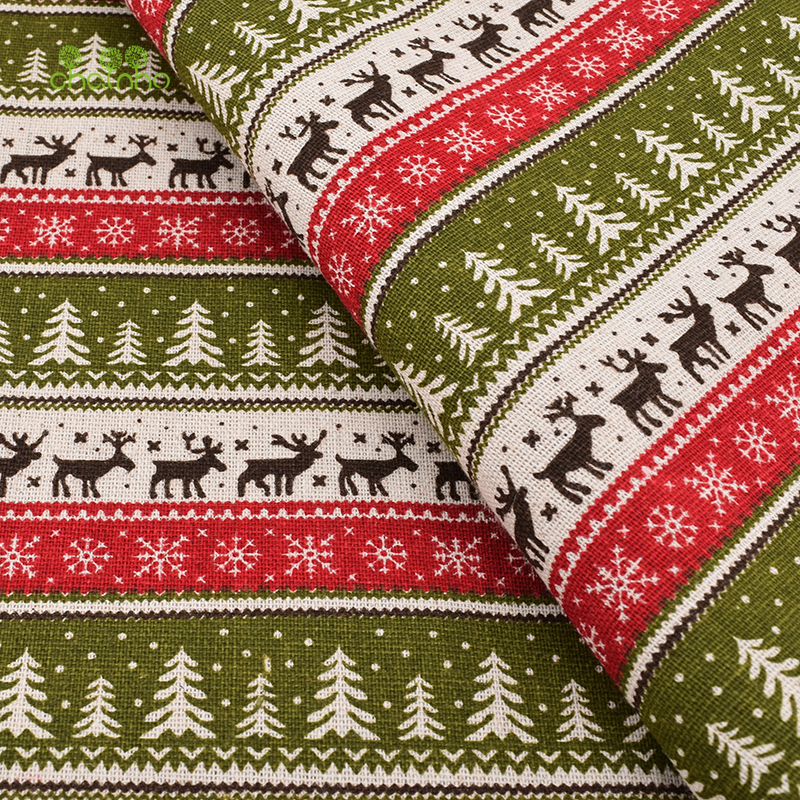 Printed Cotton Linen Fabric For Quilting,DIY Sewing,Sofa,Curtain,Bag,Cushion,Furniture Cover Material,Christmas,Half Meter Cloth