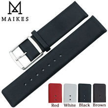 MAIKES 16mm 18mm 20mm 22mm Genuine Leather Watch Band High Quality Thin Black Strap