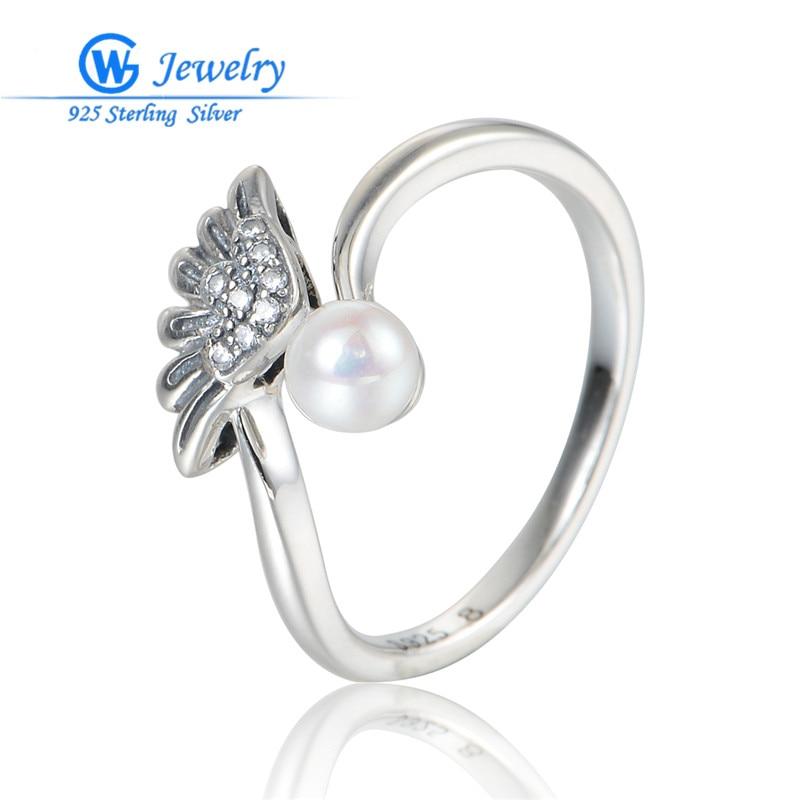 100% bijoux fantaisie perle bijoux pur 925 bague en argent Sterling bague de mariage en argent avec perla pour femmes bijoux RIPY062H90