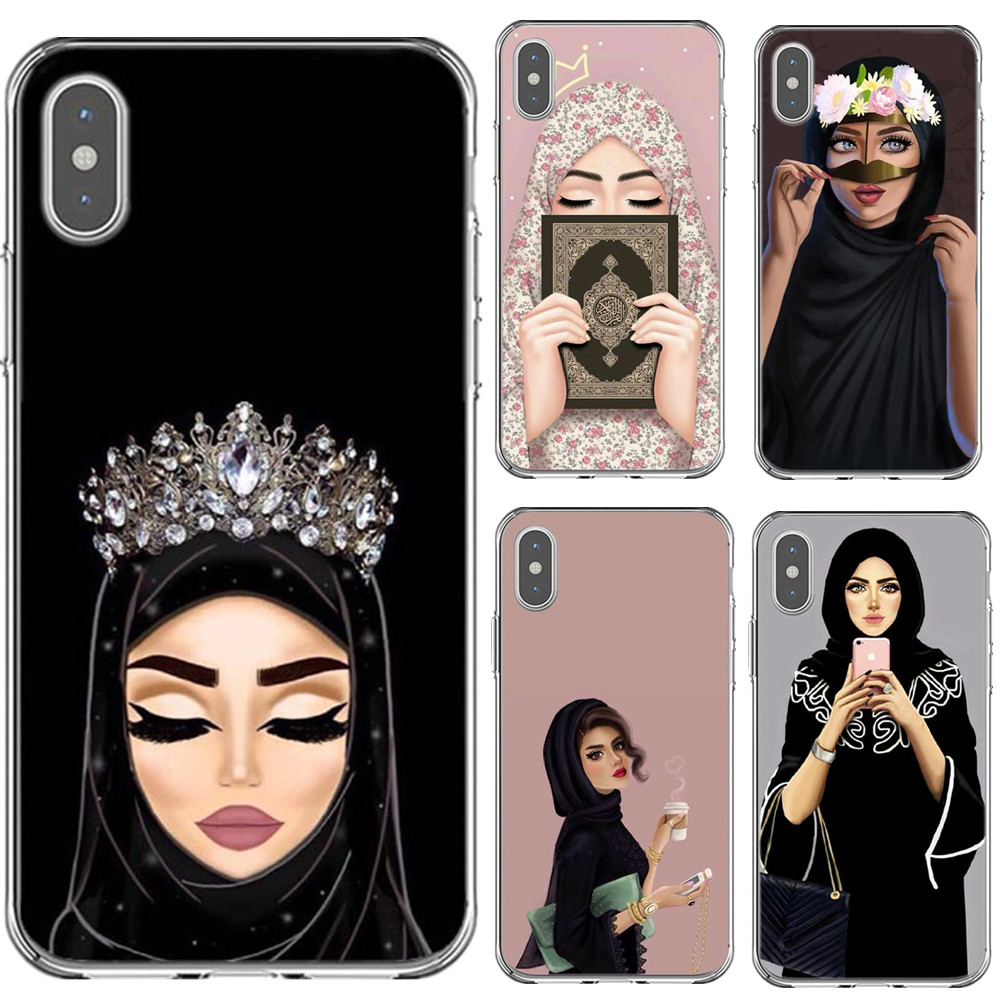 Muslim Islamic Gril Eyes Arabic Hijab Girl Phone Case Cover For Iphone X 8 8plus 7 7plus 6 6s Plus 5 5s Se Black Protector Shell Less Expensive Phone Bags & Cases
