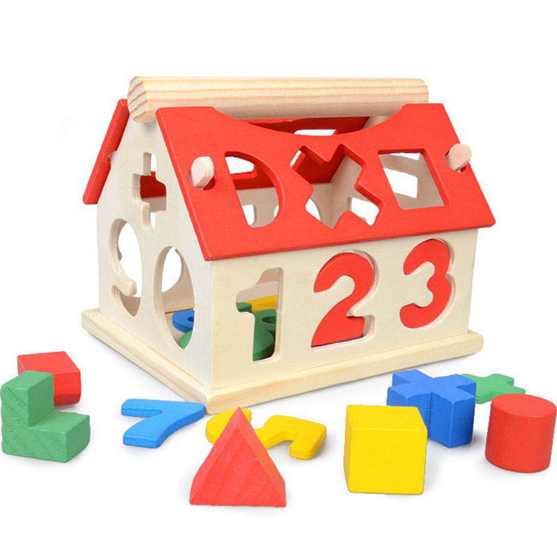 цена на New House Wooden Educational Montessori Materials Toys for Children Early Education Block Teaching Aids Geometric Math Kids Gift