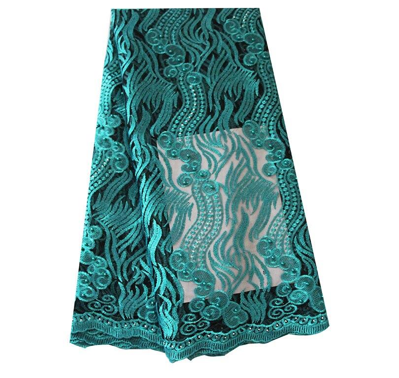 Ourwin liquidation vente Tulle Net dentelle tissu avec perles Aqua africain dentelle tissu de haute qualité Guipure dentelle tissus Orange - 4