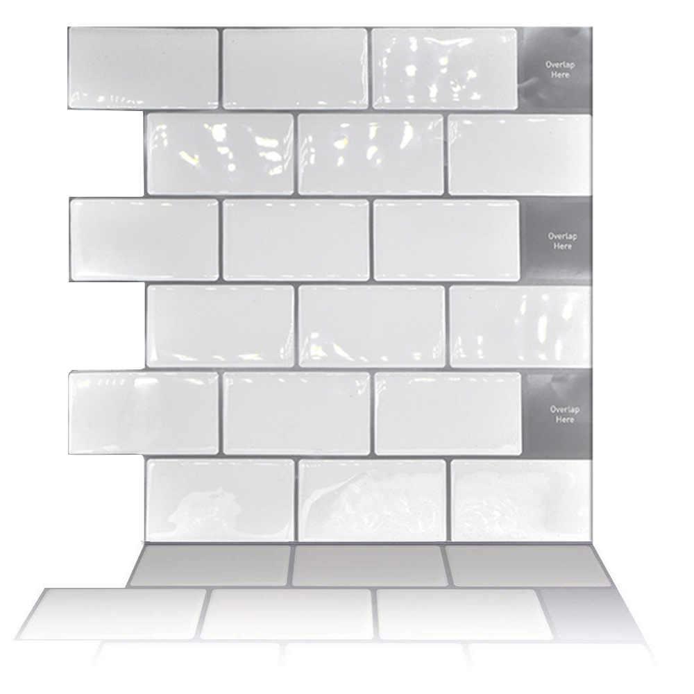לבן גדול נגד אריחי דביק 3D טפט DIY מטבח אמבטיה דקורטיבי קיר אריחי לבן רכבת תחתית