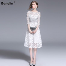 Banulin 2019 Summer Fashion Designer Runway Dress Womens Half Sleeve Luxious Sequins Floral Embroidery Mesh Party Dresses