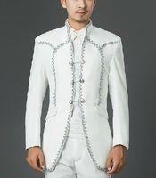 Бесплатная доставка Мужские цвета: белый, серебристый привязки средневековой куртка смокинг/принц Косплей
