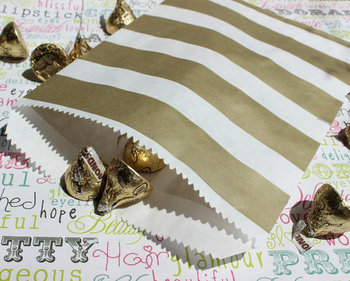 200 Gold Metallic Rugby Stripe Wedding Candy Favor Bags, Gold Rugby Party Bags, Rugby Favor Bags, Gold Candy Bags фото