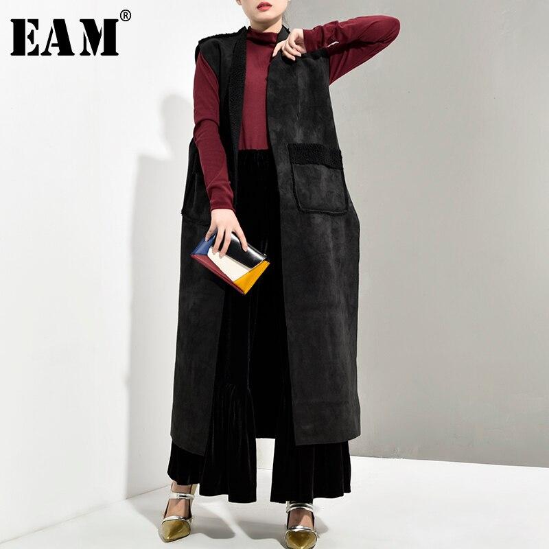 [EAM] 2019 New Spring Summer Lapel Sleeveless Khaki Loose Long Big Size Button Pocket Loose Vest Women Fashion Tide JW944