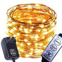 8 модель затемнения 99ft 30 м 300 светодиоды LED Фея огни строки Открытый водонепроницаемый украшения для Рождество Звездная Firefly веревки свет