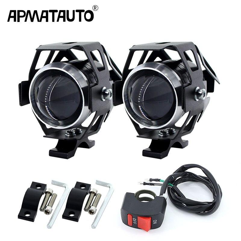 2 pçs branco moto rcycle faróis lâmpada auxiliar u5 led moto rbike spotlight acessórios 12 v moto drl ponto cabeça luzes