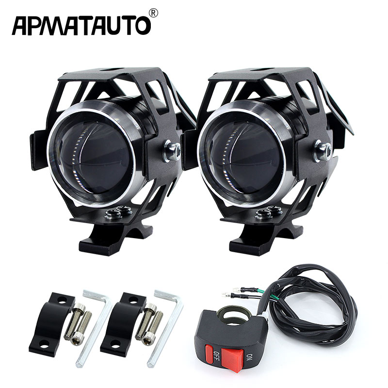2PCS White Motorcycle Headlights Auxiliary Lamp U5 Led Motorbike Spotlight Accessories 12V Moto DRL Spot Head Lights