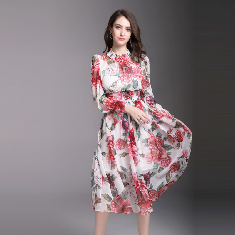 2018 Spring New Print Floral Dress Women High Quality Full Sleeve Mid-Calf Length Slim Flowers Dresses Female
