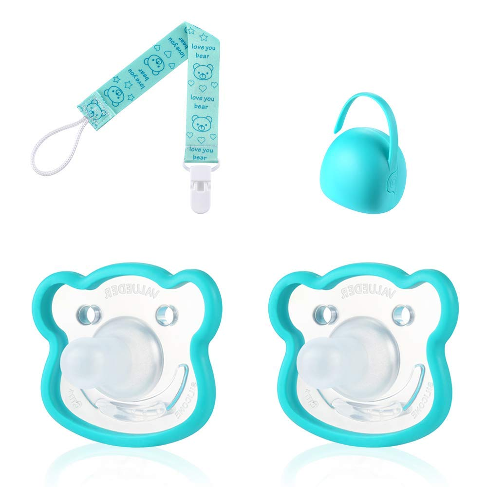 VALUEDER 2PCS Soft Silicone Baby Pacifier With Portable Box & Chain Set Baby Soother With Pacifier Clip And Plastic Storage Case