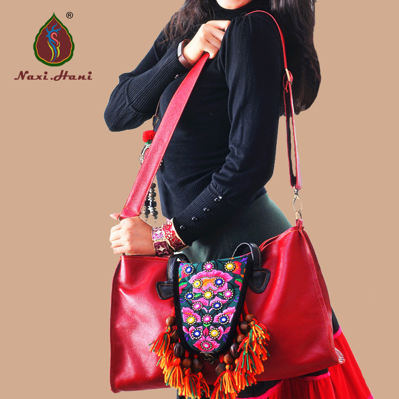 Newest Bohemia Red genuine leather women handbags Ethnic embroidery handmade tassel cow leather messenger shoulder bags 2016 summer national ethnic style embroidery bohemia design tassel beads lady s handbag meessenger bohemian shoulder bag