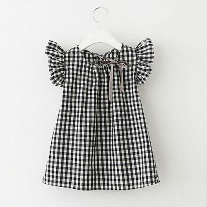 Hot Sale Brief Infant Toddler Kids Baby Girls Lace Plaid Ruched Sleeve Dress Plaid Party Wedding Pageant Cute Summer Dresses hot sale girls long sleeve dress cute