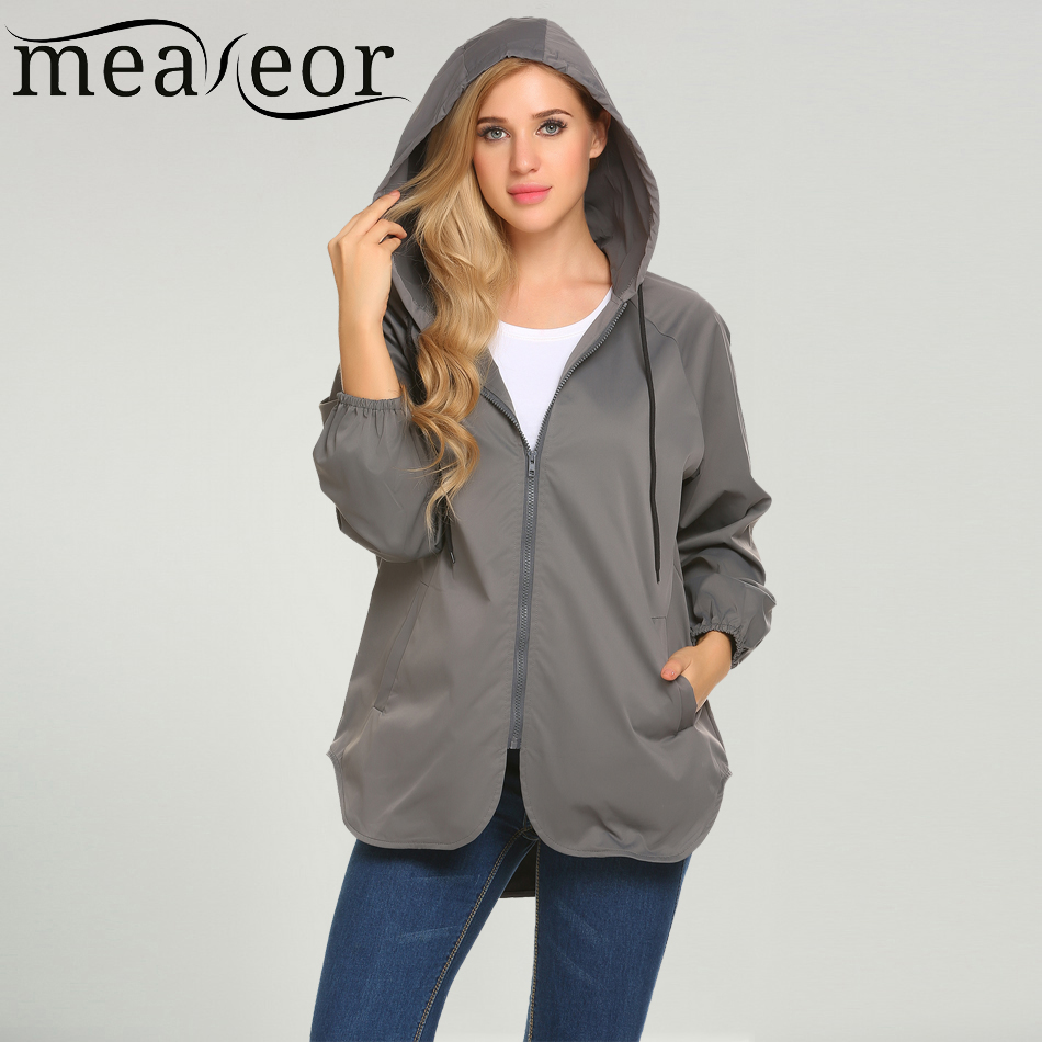 Meaneor 2017 New Autumn Women Casual Trench Coat Hooded Long Sleeve Solid Asymmetrical C ...