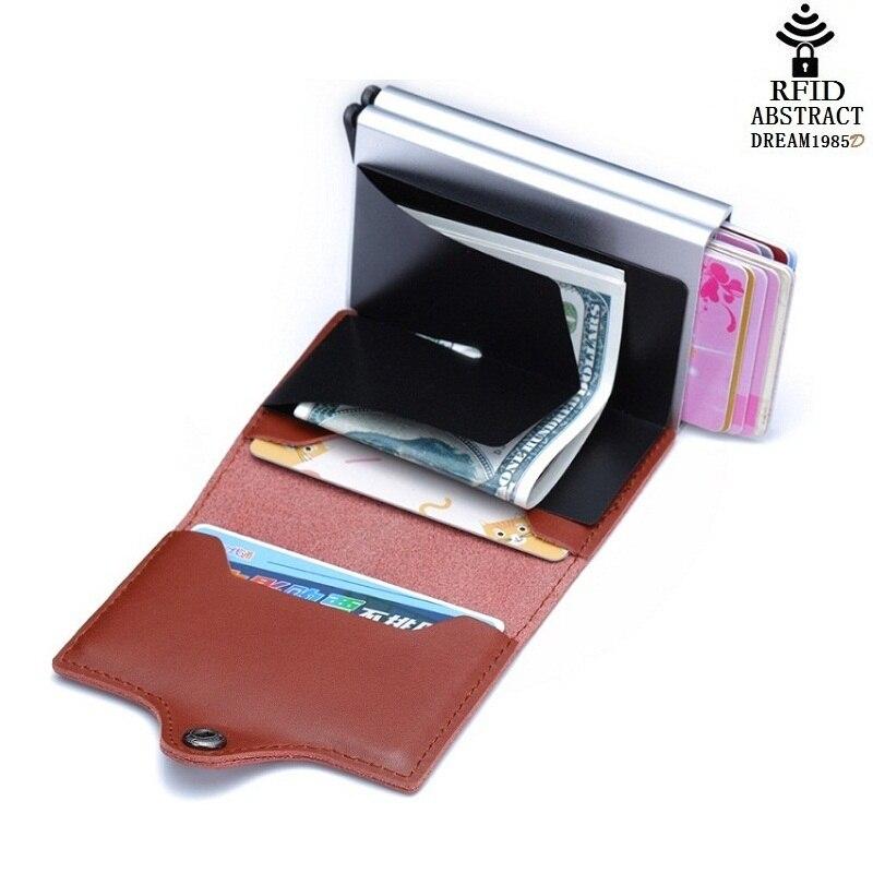 2019 RFID portefeuille vintage hommes en cuir véritable moraillon affaires porte-carte en Aluminium automatique de luxe femme Double couche sac à main classique - 2