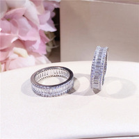 High quality S925 sterling silver micro inlaid princess crystal ring wedding proposal ring