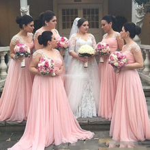 Plus Size Chiffon Blush Pink Bridesmaid Dresses Lace Cap Sleeves 2017 India Maid of Honor Gowns