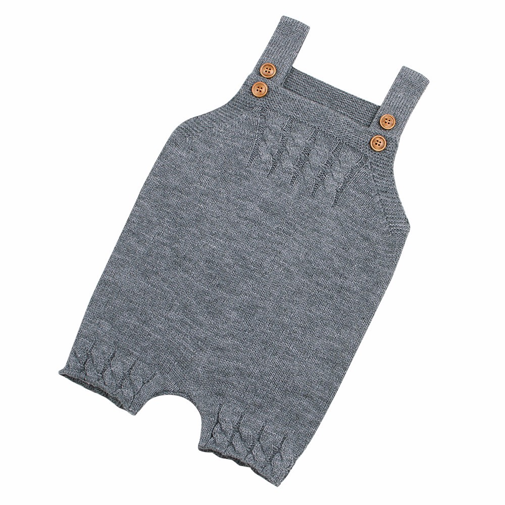 Colors knitted   Romper   Toddler Newborn Baby Boys Girls Strap Buttons Solid   Rompers   Jumpsuit Outfits Casual Daily Home Warm