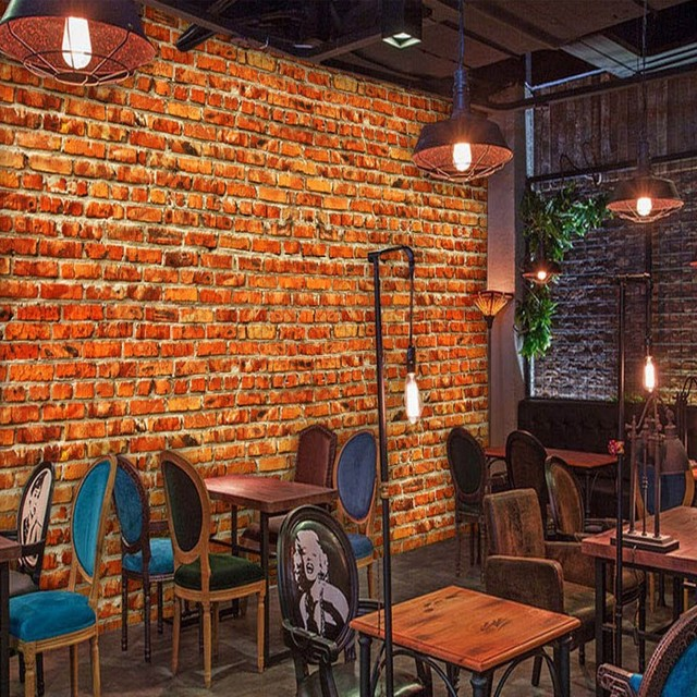 Photo Wallpaper European Fashion Mural Red Brick Wall Bar Coffee Background Restaurant Bathroom