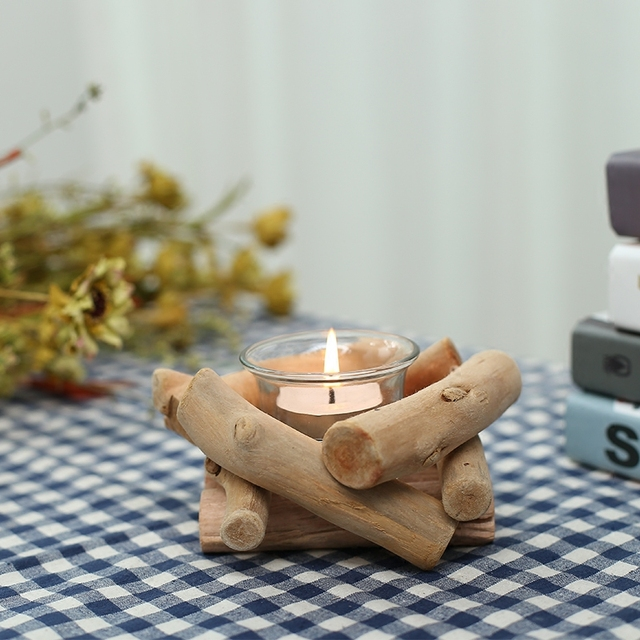 Minimalist Modern Wooden Candle Holders Collectibles Desktop Decoration Wedding Gift Company Features Holder